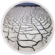 1a6832 Mud Cracks In Death Valley Round Beach Towel