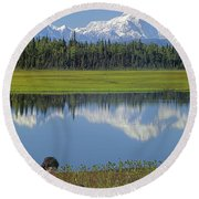 1m1326 Wife And Son In Denali National Park Round Beach Towel