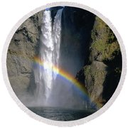 1m4716 Snoqualmie Falls And Rainbow Round Beach Towel
