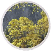 1m6610 Middle Cathedral Rock In Autumn Round Beach Towel