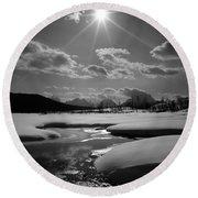 1m9203 Sunburst Over The Snake River, Tetons Round Beach Towel