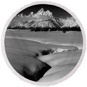 1m9303 Bwtetons Seen From Jackson Hole Round Beach Towel
