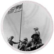 1st Flag Raising On Iwo Jima  Round Beach Towel