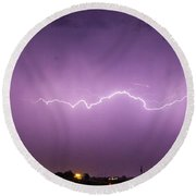 1st Severe Night Tboomers Of 2018 012 Round Beach Towel