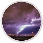 1st Severe Night Tboomers Of 2018 015 Round Beach Towel