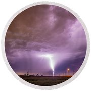 1st Severe Night Tboomers Of 2018 016 Round Beach Towel