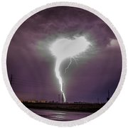 1st Severe Night Tboomers Of 2018 020 Round Beach Towel
