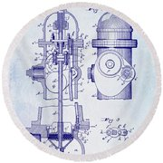 1903 Fire Hydrant Patent Round Beach Towel