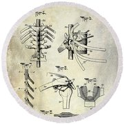 1911 Anatomical Skeleton Patent Round Beach Towel
