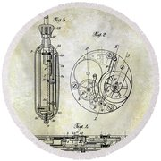 1913 Pocket Watch Patent Round Beach Towel