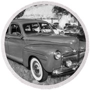 1942 Ford Super Deluxe Sedan Bw  Round Beach Towel