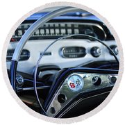 1958 Chevrolet Impala Steering Wheel Round Beach Towel