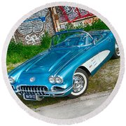 1959 Chevrolet Corvette Round Beach Towel