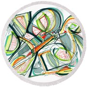 2010 Abstract Drawing Seventeen Round Beach Towel