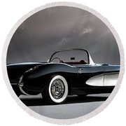 '56 Corvette Convertible Round Beach Towel
