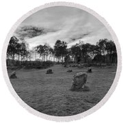9 Ladies Stone Circle, Stanton Moor, Peak District National Park Round Beach Towel