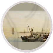 A Busy Harbour Round Beach Towel