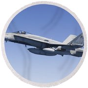 A Cf-188a Hornet Of The Royal Canadian Round Beach Towel