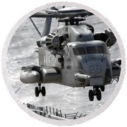 A Ch-53e Super Stallion Helicopter Round Beach Towel by Stocktrek Images