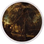 A Forest At Dawn With A Deer Hunt Round Beach Towel
