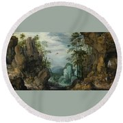 A Rocky Landscape With Travelers Round Beach Towel