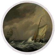 A Small Dutch Vessel Close-hauled In A Strong Breeze Round Beach Towel