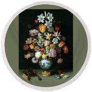 A Still Life Of Flowers Round Beach Towel