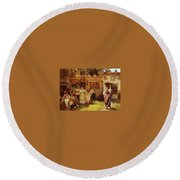 A Venetian Fan Seller Henry Woods Round Beach Towel
