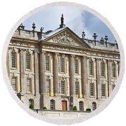 A View Of Chatsworth House, Great Britain Round Beach Towel