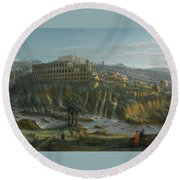 A View Of The Waterfalls And The Villa Of Maecenas Round Beach Towel