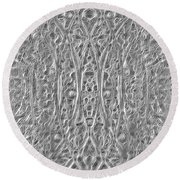 Abstract Black And White  Round Beach Towel