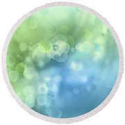 Abstract Blue Green Circles 3 Round Beach Towel