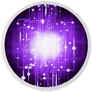Abstract Circuit Board Lighting Effect  Round Beach Towel