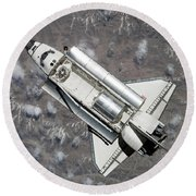 Aerial View Of Space Shuttle Discovery Round Beach Towel by Stocktrek Images