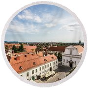 Aerial View Of Zagreb In Croatia Round Beach Towel
