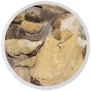 Aerial View Over The Sandpit. Industrial Place In Poland. Round Beach Towel