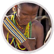 African Woman Round Beach Towel