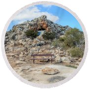 Agioi Saranta Cave Church - Cyprus Round Beach Towel