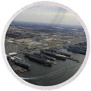 Aircraft Carriers In Port At Naval Round Beach Towel by Stocktrek Images
