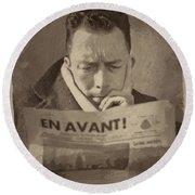Albert Camus 1 Round Beach Towel