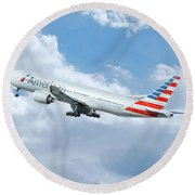 American Airlines Boeing 777 Round Beach Towel