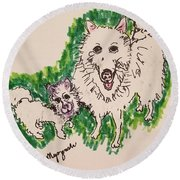 American Eskimo Dog Round Beach Towel