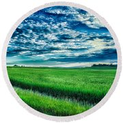 An Iowa Sunset Round Beach Towel