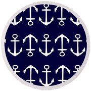 Anchor Round Beach Towel by Chastity Hoff