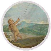 Angel Flying A Kite Round Beach Towel