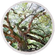 Angel Oak Tree Round Beach Towel