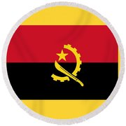 Angola Flag Round Beach Towel