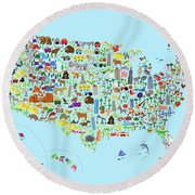 Animal Map Of United States For Children And Kids Round Beach Towel by Michael Tompsett