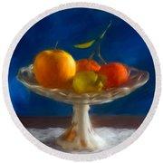 Apple, Lemon And Mandarins. Valencia. Spain Round Beach Towel
