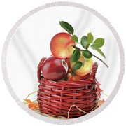 Apples In A Basket  Round Beach Towel